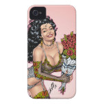 Brunette in Lingerie with Roses Illustration Case-Mate iPhone 4 Cases