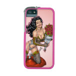 Brunette in Lingerie with Roses Illustration iPhone 5/5S Covers