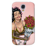 Brunette in Lingerie with Roses Illustration Galaxy S4 Case