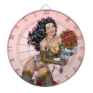 Brunette in Lingerie with Roses Illustration Dartboard