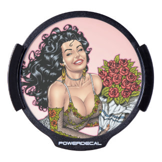 Brunette in Lingerie with Roses Illustration LED Car Window Decal