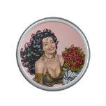 Brunette in Lingerie with Roses Illustration Speaker