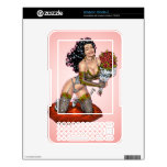 Brunette in Lingerie with Roses Illustration Kindle Decal