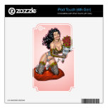 Brunette in Lingerie with Roses Illustration Skin For iPod Touch 4G