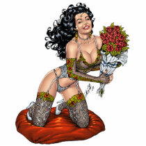 lingerie, roses, smiling, pinup, model, drawing, illustration, fishnet, al rio, bouquet, Photo Sculpture with custom graphic design