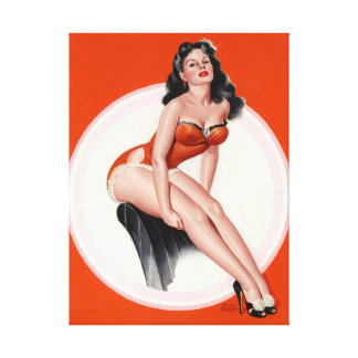 Brunette in Red Bathing Suit Pin Up Art Canvas Print