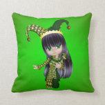 Brunette Jester Pillow