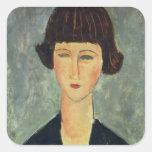 Brunette joven, 1917 (aceite en lona) calcomania cuadradas