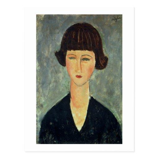 Brunette joven, 1917 (aceite en lona) postal