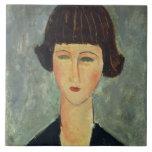 Brunette joven, 1917 (aceite en lona) teja