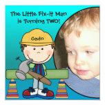 Brunette Little Fix-It Man Birthday Invitation