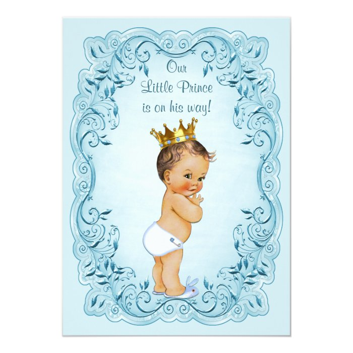 brunette little prince blue leaves baby shower card zazzle