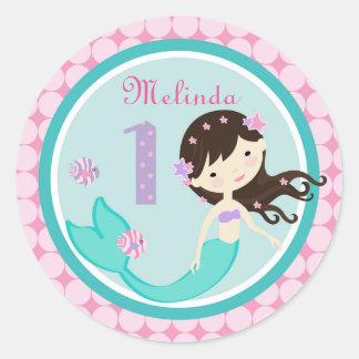 Brunette Mermaid Age One Birthday Sticker