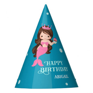Brunette Mermaid Birthday Party Hat - Personalized