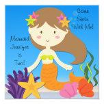 Brunette  Mermaid Custom Birthday Invitation