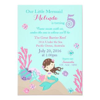 Brunette Mermaid Fifth Birthday Invitation