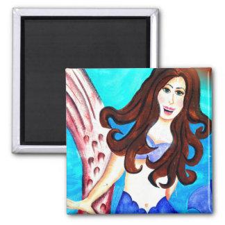 brunette mermaid magnet fridge magnet