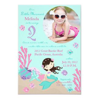 Brunette Mermaid Second Birthday Invitation
