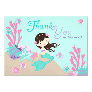 Brunette Mermaid Thank You Card