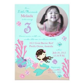 Brunette Mermaid Third Birthday Invitations