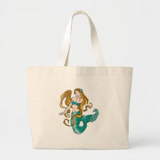 brunette mermaid tote bags