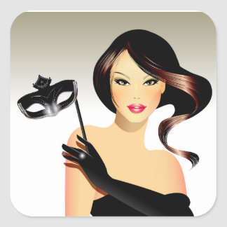 Brunette Model and Mask Square Sticker