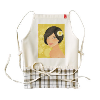 Brunette Model and Yellow Flower Zazzle HEART Apron