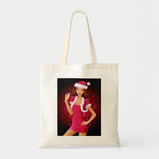 Brunette Model Christmas Santa Hat Tote Bag