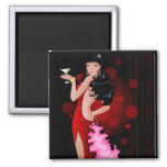 Brunette Model in Red Party Dress 2 Inch Square Magnet
