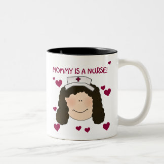 Brunette Mommy is a Nurse Two-Tone Coffee Mug