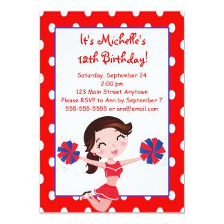 Brunette Navy Red Cheerleader Invitations