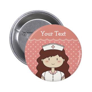 Brunette Nurse Pinback Button