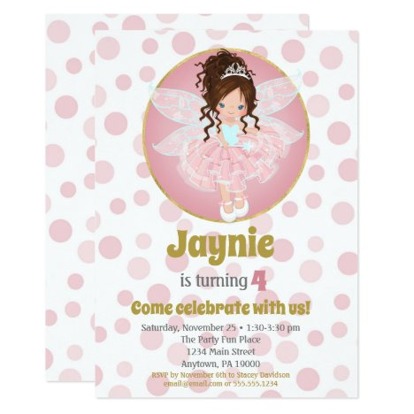 Brunette Pink Fairy Girls Birthday Invitation