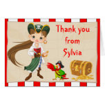 Brunette Pirate Girl Birthday Thank You Note Card