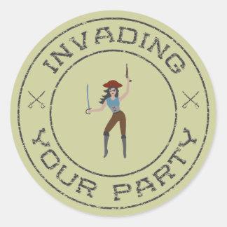 Brunette Pirate Girl Sticker