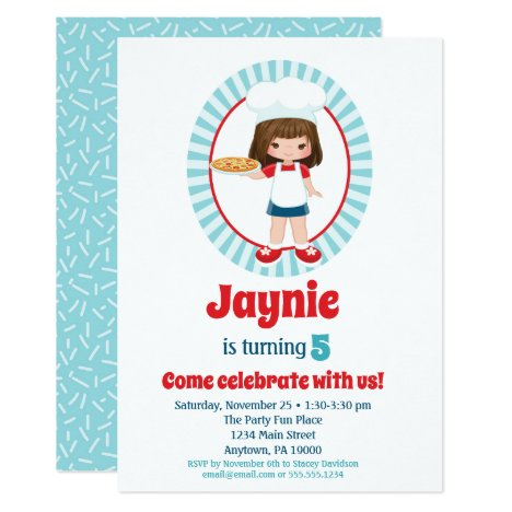 Brunette Pizza Party Girls Birthday Invitation