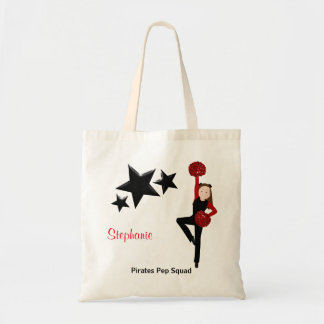 Brunette Pom Squad in Black & Red Tote Bag