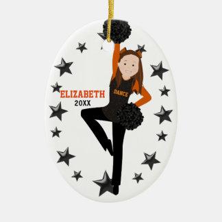 Brunette Pom Squad Orange & Black Ceramic Ornament