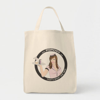 Brunette PopChiX Girl Tote Grocery Tote Bag