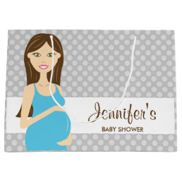 Brunette Pregnant Woman In Blue Dress Baby Shower Large Gift Bag