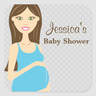 Brunette Pregnant Woman In Blue Dress Baby Shower Square Sticker