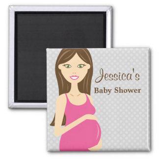 Brunette Pregnant Woman In Pink Dress Baby Shower Magnet