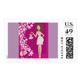 brunette pregnant woman postage postal stamps