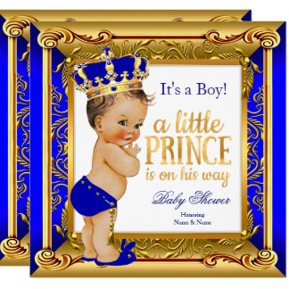 Brunette Prince Baby Shower Blue Faux Gold Card