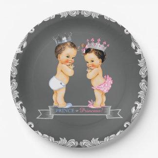 Brunette Prince Princess Chalkboard Baby Shower Paper Plate