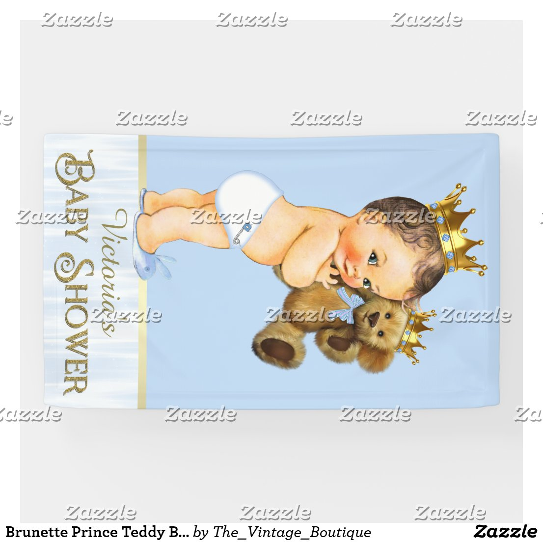 Brunette Prince Teddy Bear Baby Shower