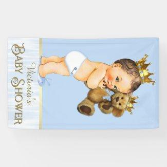 Brunette Prince Teddy Bear Baby Shower