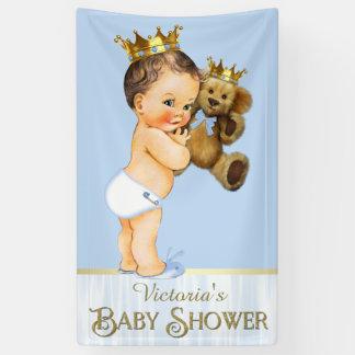 Brunette Prince Teddy Bear Baby Shower Banner