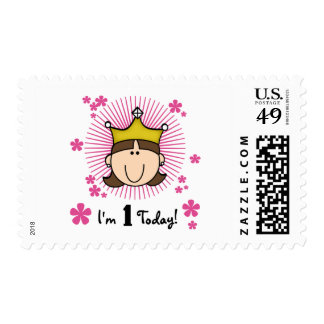 Brunette Princess 1st Birthday Tshirts and Gifts Stamps