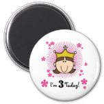 Brunette Princess 3rd Birthday Magnet